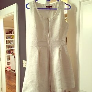C luxe white zip up dress with gold hardware